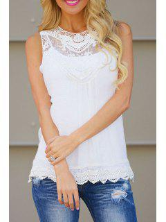 Lace Spliced Openwork Tank Top - White 2xl