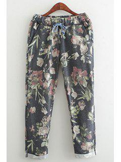 Floral Elastic Waist Drawstring Pants - Black M