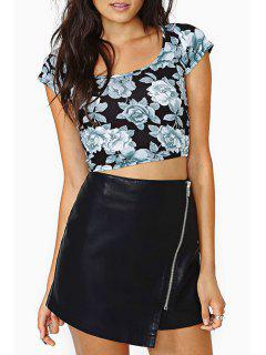 Packet Buttocks Zippered PU Leather Skirt - Black M