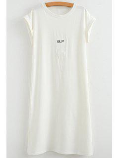 Triangle Pattern Short Sleeve Dress - White