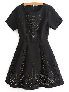 Hollow Out Short Sleeve Flare Dress - Black L