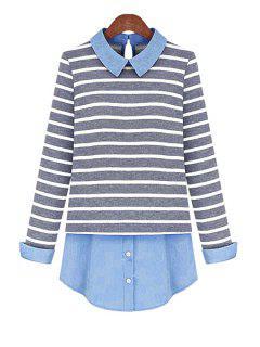 Plus Size Striped Blouse - Blue 4xl