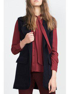 Solid Color Lapel Collar Thicken Waistcoat - Purplish Blue M
