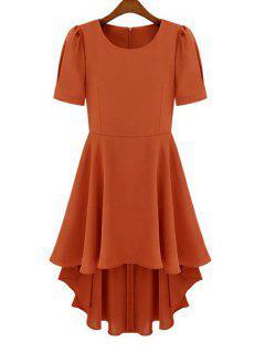 Short Sleeve Chiffon Dovetail Dress - Darksalmon L