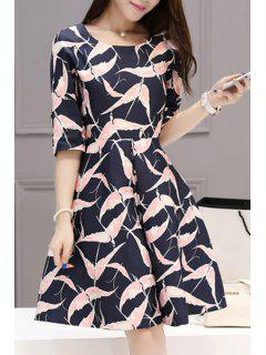 Half Sleeve Bird Print Dress - Purplish Blue L
