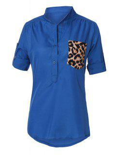 Long Sleeve Patchwork Pocket Shirt - Blue M