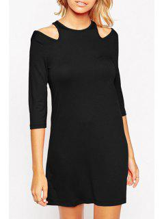 3/4 Sleeve Cut Out Dress - Black L