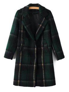 Plaid Lapel Collar Long Sleeves Wool Blend Coat - Green L