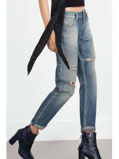 Vintage Straight Leg Broken Hole Jeans - Light Blue M