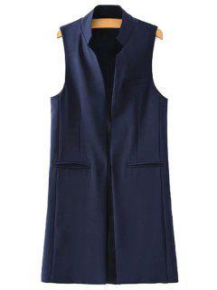 Stand Neck Pure Color Waistcoat - Deep Blue L