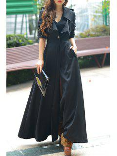 Pure Color Turn Down Collar Long Sleeve Maxi Coat - Black L