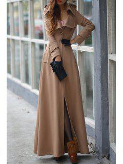 Pure Color Turn Down Collar Long Sleeve Maxi Coat - Khaki Xl