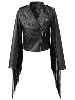 Black Epaulet Stand Collar Faux Leather Jacket - Black M