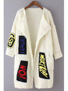 Letter Applique Print Long Sleeves Collarless Cardigan - White