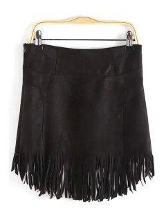 Tassels Suede Irregular Hem Skirt - Black S