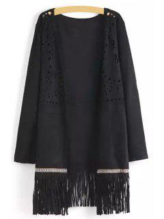 Openwork Fringed Suede Coat - Black M