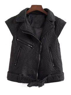 PU Leather Black Side Zipper Thicken Waistcoat - Black L
