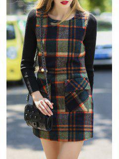 Spliced Plaid Long Sleeves Sweater Dress - Xl