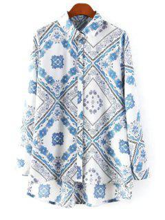 Vintage Floral Print Shirt - White L