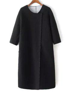 3/4 Sleeve Covered Button Black Coat - Black S