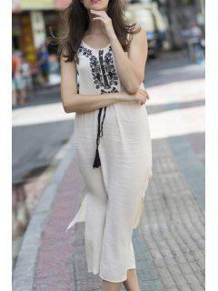 Sleeveless Embroidered Drawstring Dress - White M