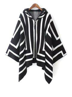 Hooded White Stripes Cloak Cardigan - White And Black M