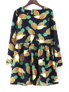 Long Sleeve Pineapple Print Dress - Blue M