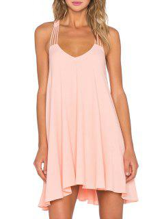Backless Halterneck Solid Color Dress - Pink L