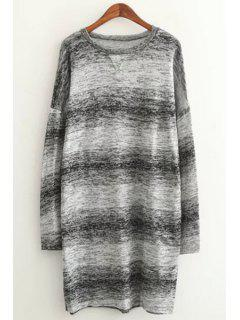 Long Sleeve Ombre Color Sweater - Gray