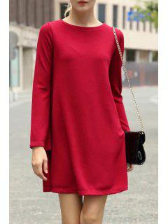 Long Sleeve Pure Color Flare Dress - Red L