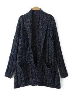 Cable Knit Big Pockets Cardigan - Cadetblue