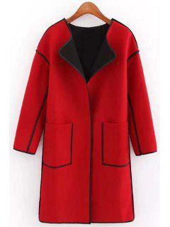Round Neck Big Pockets Wool Coat - Red S