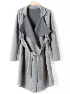 Lapel Self-Tie Belt Long Cardigan - Gray L
