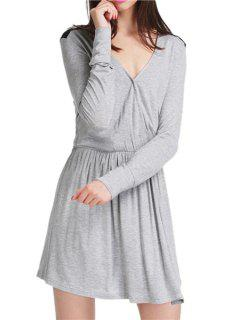 Color Block V Neck Long Sleeve Dress - Gray M