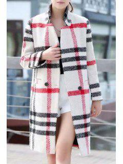 Stand Neck Plaid Pockets Wool Coat - Khaki M