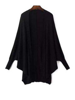 Batwing Sleeve Solid Color Cardigan - Black