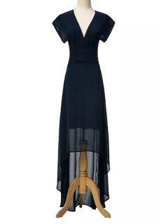 High Low Plunging Neck Short Sleeve Dress - Purplish Blue M