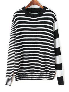 Stripes Spliced Long Sleeve Jumper - White And Black S