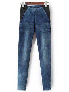 Bleach Wash Stretchy Pencil Jeans - Blue S