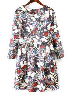 Long Sleeves Full Butterfly Print Dress - Black M