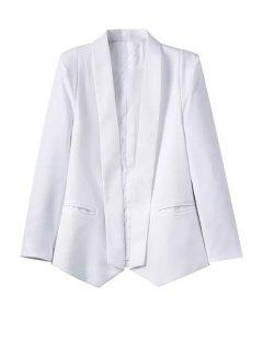 White Shawl Collar Long Sleeve Blazer - White S