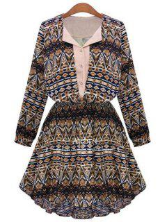Geometric Print V Neck Long Sleeve A Line Dress - Coffee M
