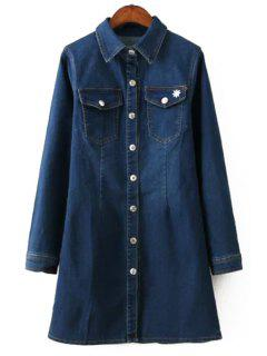 Solid Color Turn-Down Collar Denim Dress - Deep Blue M