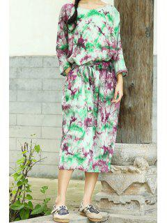 3/4 Sleeve Colorful Midi Dress