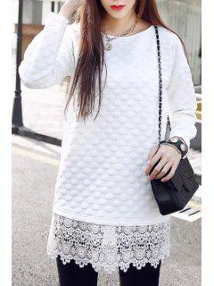 Lacework Splicing Long Sleeves Solid Color Dress - White M