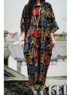 Baggy Printed Orient Dress - Black