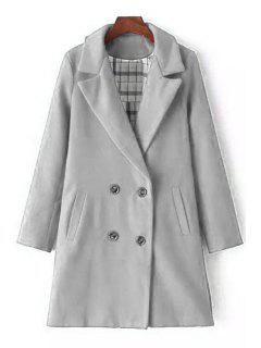 Lapel Double-Breasted Wool Coat - Gray L