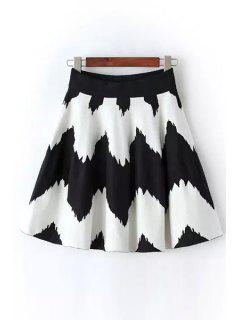 Wavy Stripes A-Line Knitted Skirt - White And Black