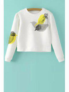 Bird Print Long Sleeves Round Collar Sweatshirt - White M