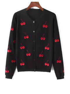 Cherry Print Round Collar Long Sleeves Cardigan - Black